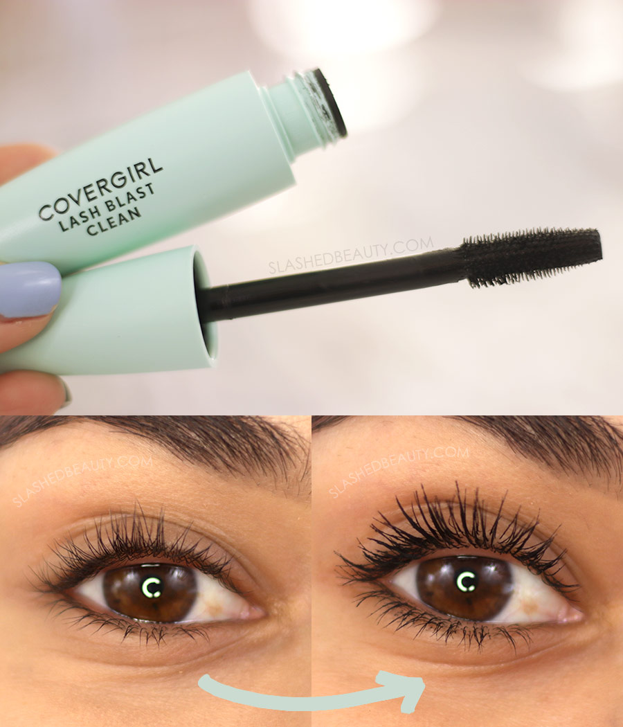 Open tube of Covergirl Lash Blast Clean Mascara, and Before and After Application | The 5 Best Drugstore Mascaras for Short Lashes in 2021 | Slashed Beauty