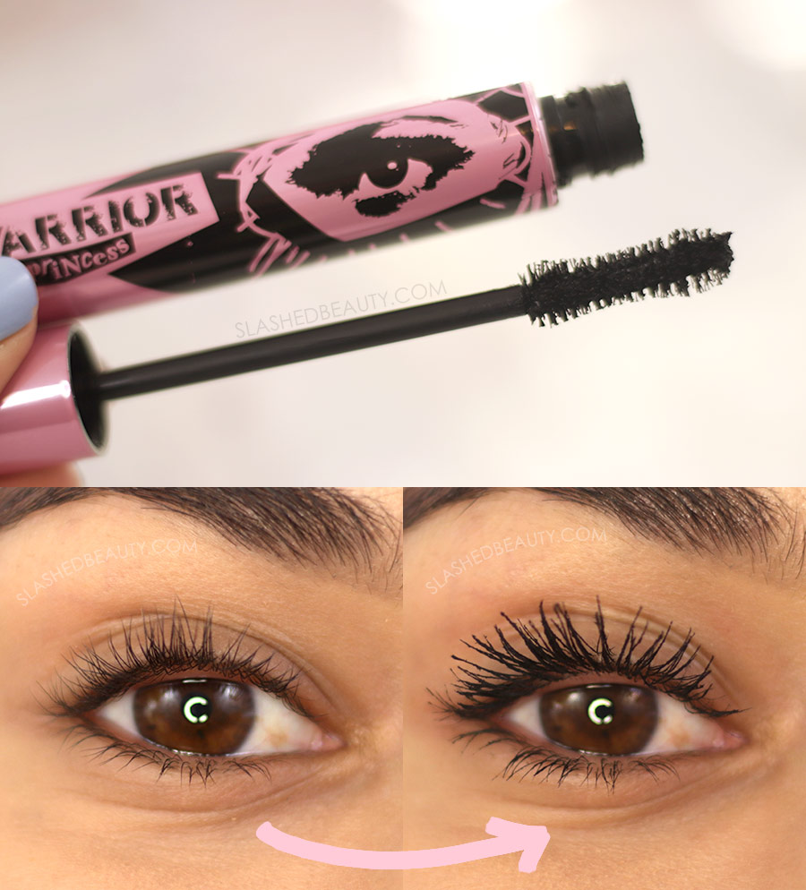 Open tube of Flower Beauty Warrior Princess Mascara, and Before and After Application | The 5 Best Drugstore Mascaras for Short Lashes in 2021 | Slashed Beauty
