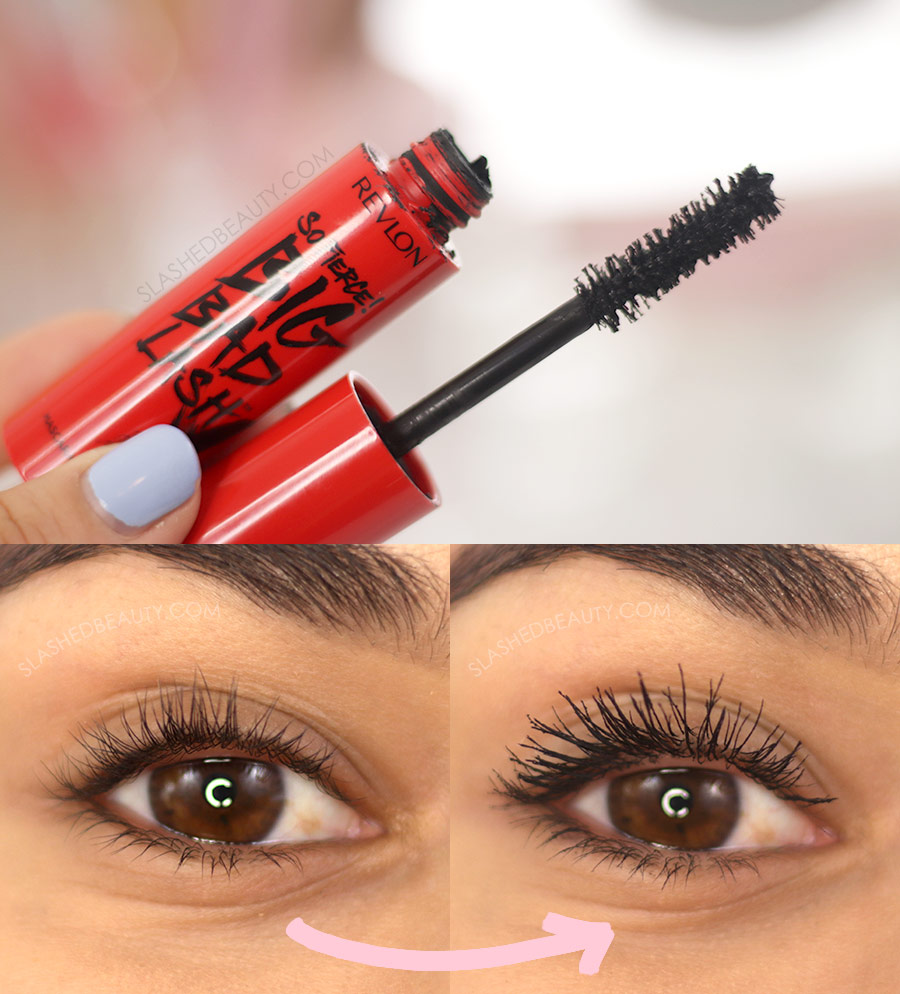 Open tube of Revlon So Fierce! Big Bad Lash Mascara, and Before and After Application | The 5 Best Drugstore Mascaras for Short Lashes in 2021 | Slashed Beauty