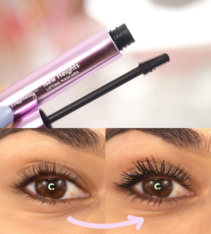 Open tube of Ulta Beauty New Heights Mascara, and Before and After Application | The 5 Best Drugstore Mascaras for Short Lashes in 2021 | Slashed Beauty