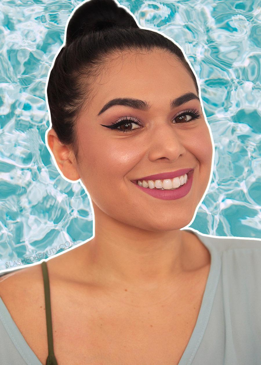 Miranda smiling to camera, wearing a full face of drugstore waterproof makeup | The Best Drugstore Waterproof Eye Makeup | Slashed Beauty