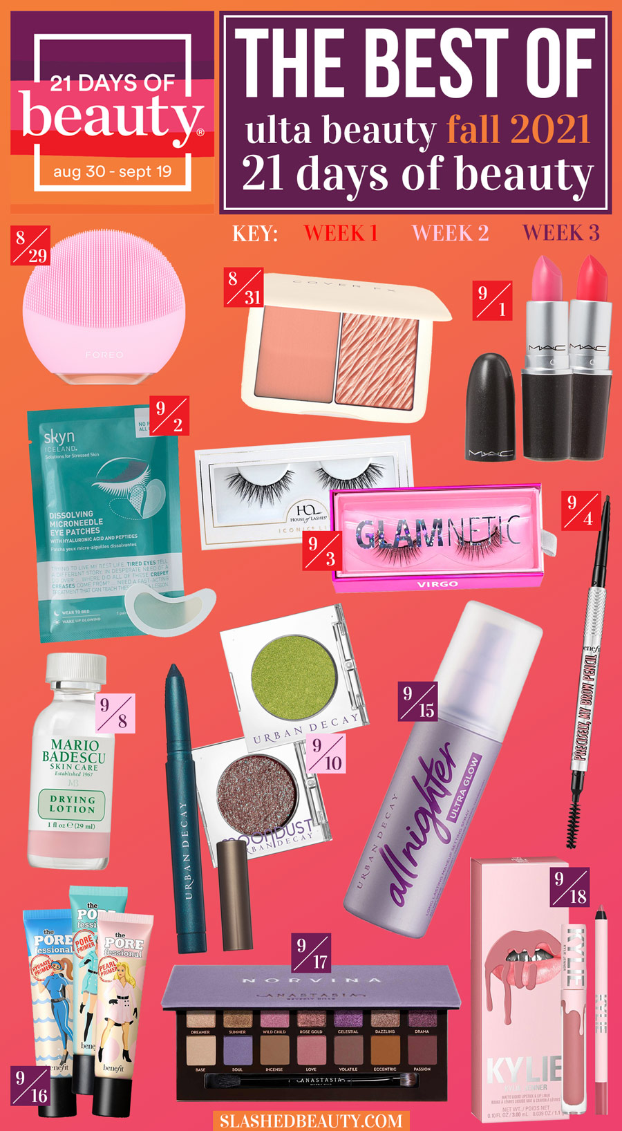 (Collage of Beauty Products) The Best of Ulta Beauty 21 Days of Beauty 2021 Fall Sale | 21 Days of Beauty Sale Recommendations | Slashed Beauty