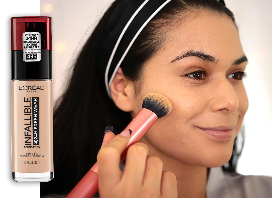 Applying L'Oreal Infallible Fresh Wear Foundation   How to Color Correct: Best Drugstore Makeup to Cover Acne   Slashed Beauty