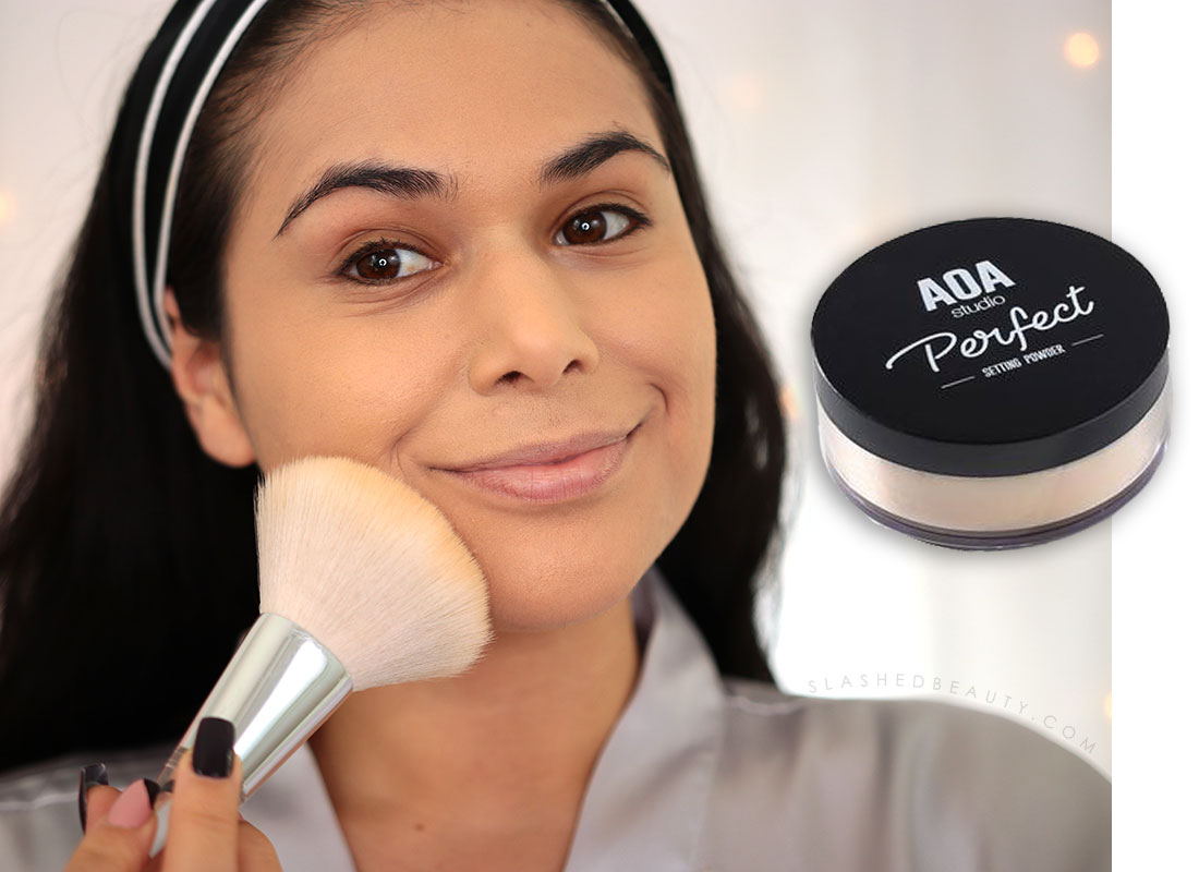 Applying AOA Studio Perfect Setting Powder   How to Color Correct: Best Drugstore Makeup to Cover Acne   Slashed Beauty