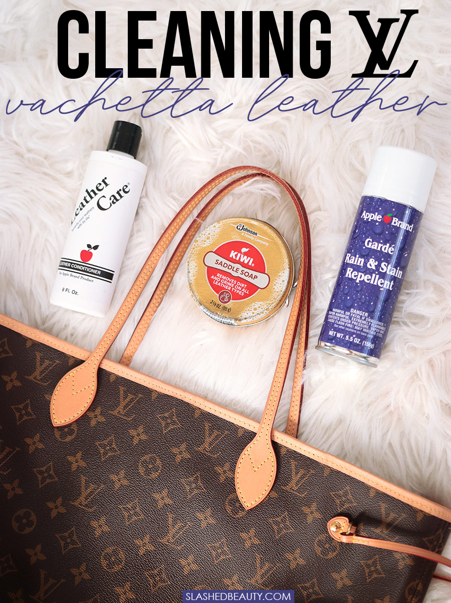 How to Clean Louis Vuitton Vachetta in 3 Steps | Apple Brand Leather Conditioner, Kiwi Saddle Soap, and Apple Garde lying next to a Louis Vuitton Neverfull on a white carpet | Slashed Beauty