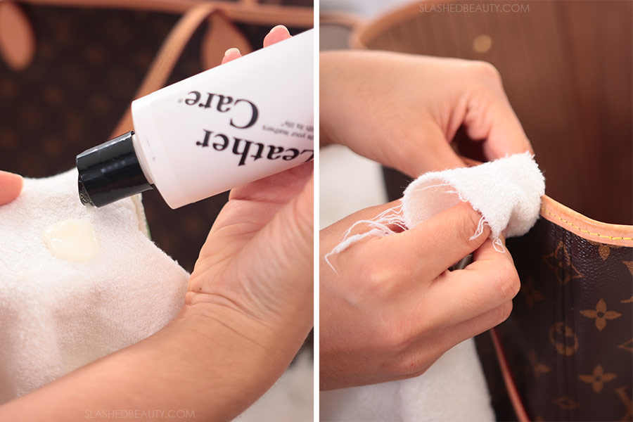 On the left: pouring Apple Brand Leather Conditioner onto a cloth, on the right: rubbing the conditioner into the vachetta leather | How to Clean Louis Vuitton Vachetta in 3 Steps | Slashed Beauty