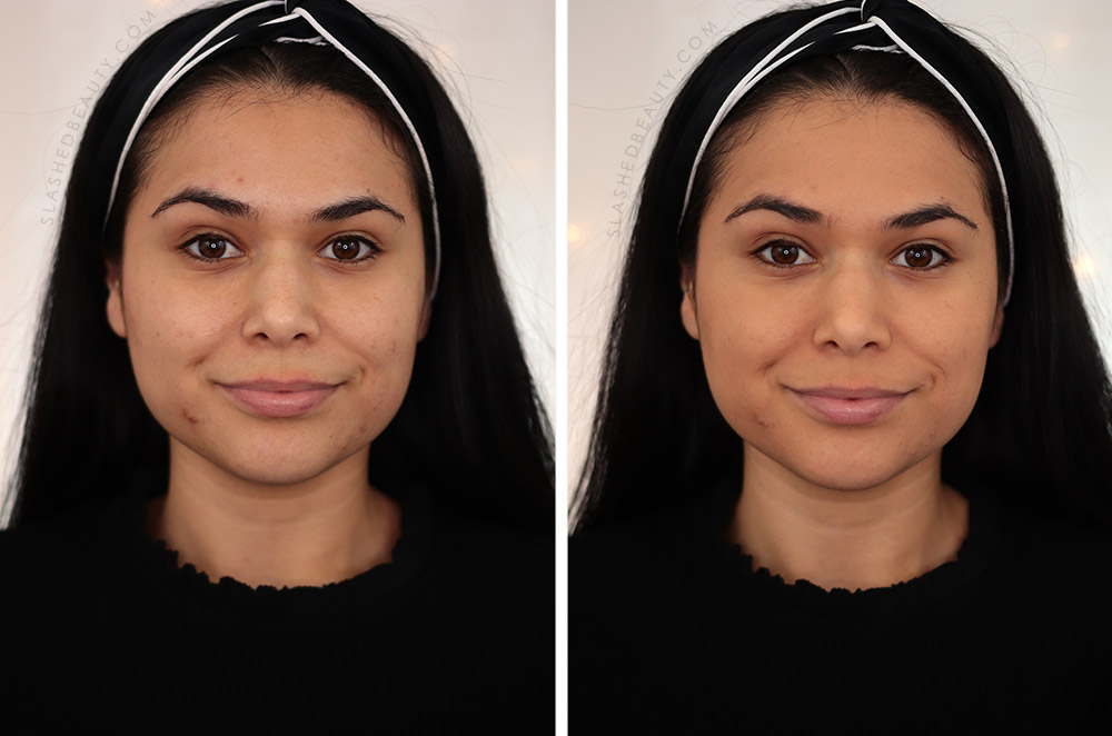 Before and after applying Covergirl Outlast Extreme Wear Pressed Powder   Drugstore Powder Review   Slashed Beauty