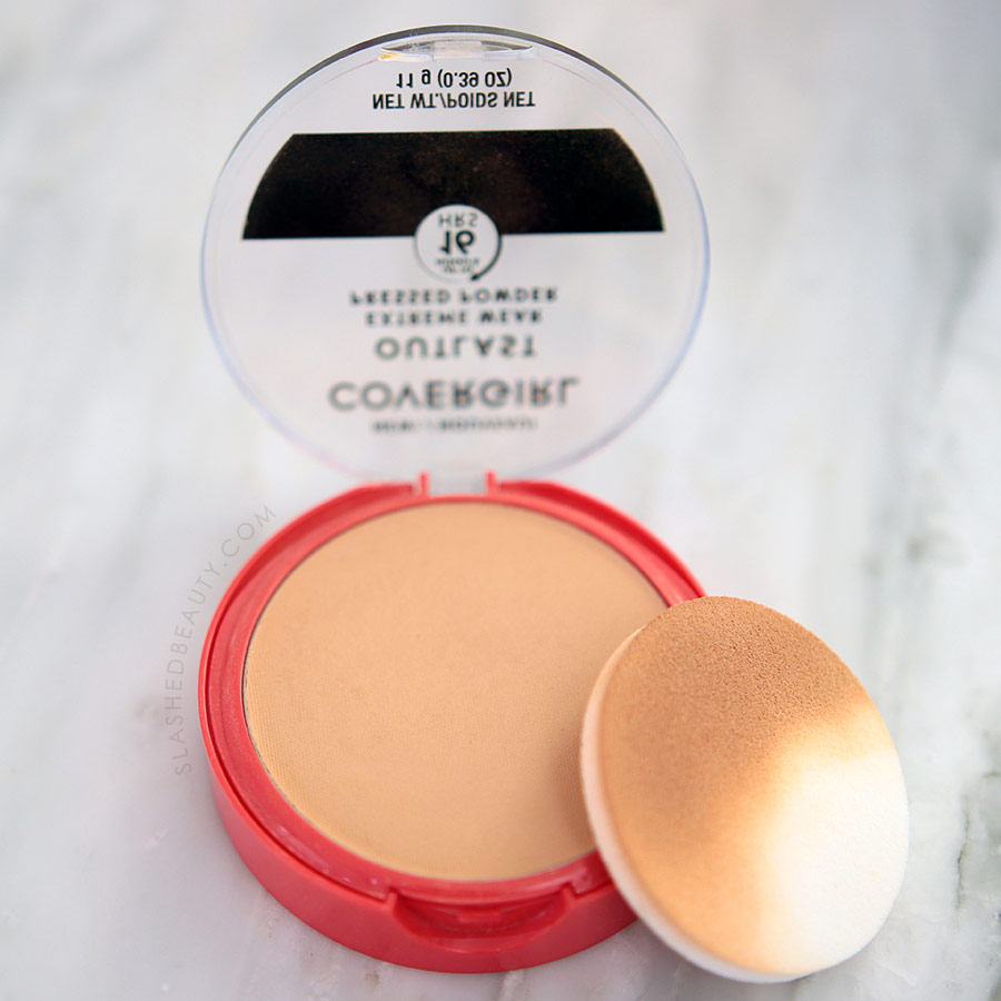 Open compact of Flatlay of Covergirl Outlast Extreme Wear Pressed Powder   Drugstore Powder Review   Slashed Beauty