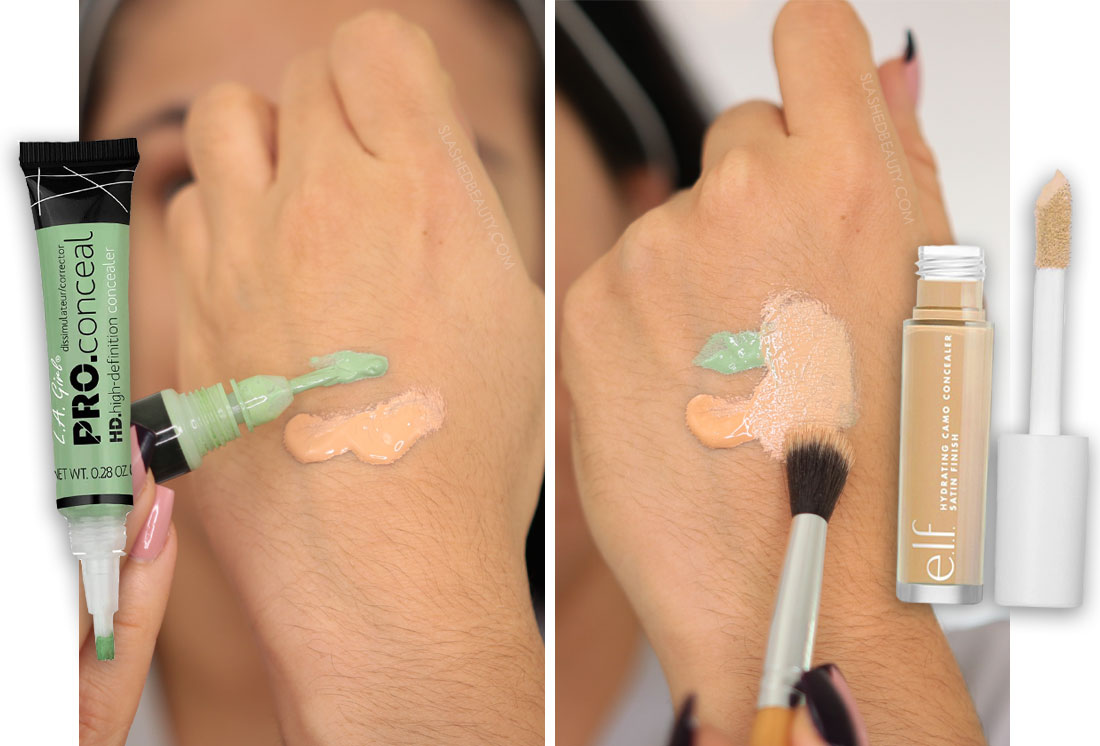 Mixing green concealer with a skin match concealer on the back of the hand   How to Color Correct: Best Drugstore Makeup to Cover Acne   Slashed Beauty