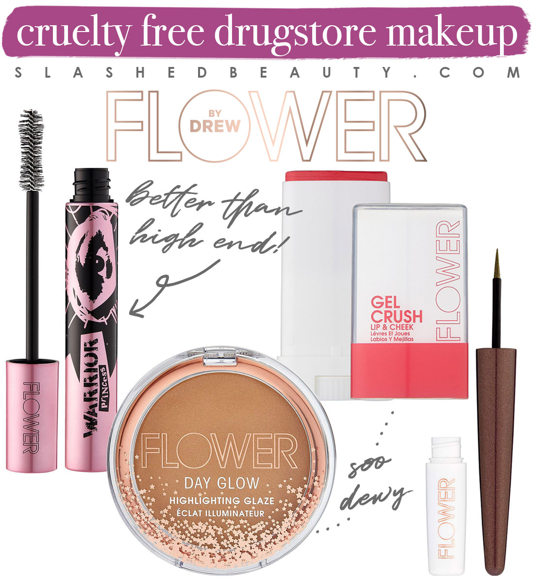 My 5 Favorite Cruelty Free Drugstore Makeup Brands   Flower Beauty Makeup Collage   Slashed Beauty
