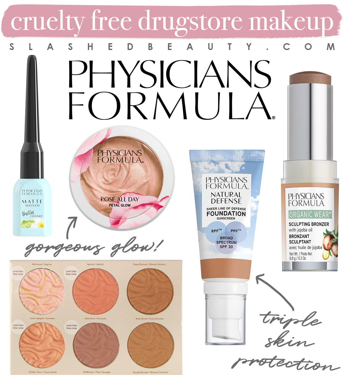 My 5 Favorite Cruelty Free Drugstore Makeup Brands   Physicians Formula Makeup Collage   Slashed Beauty