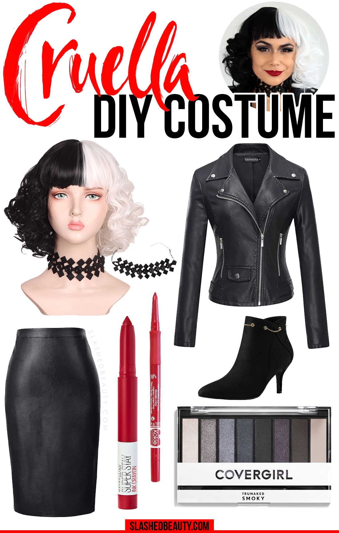 Collage of outfit picks and makeup items to create the 2021 Cruella costume | Easy DIY Cruella Halloween Costume & Makeup | Slashed Beauty